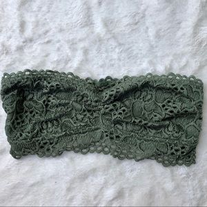 Aerie green strapless bandeau size S